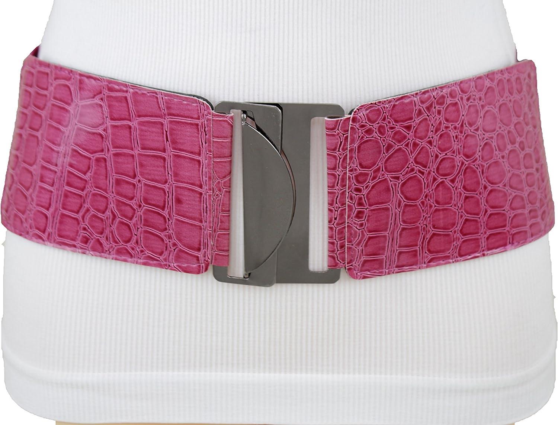 TFJ Women Elastic Fashion Belt Hip High Waist Metal Buckle Denim Fabric Fringes S M