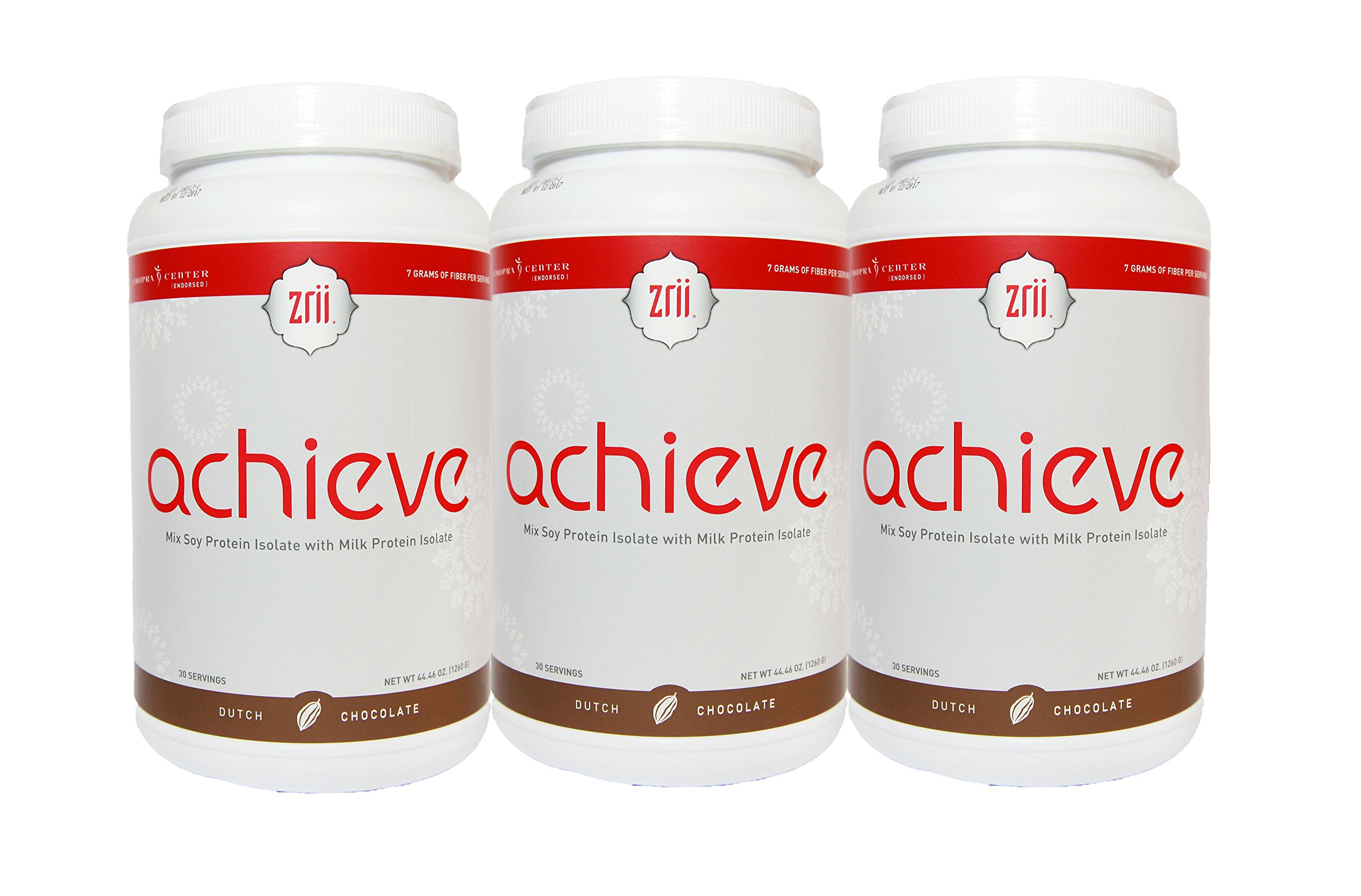 3x Zrii ACHIEVE (Dutch Chocolate) Mix Soy Protein Isolate with Milk Protein Isolate (44.46 ounce) + Free Express Shipping to USA (2 to 3 days) by Zrii (Image #1)