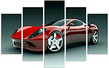 qicai 5 panels sport car canvas framed wall art wall canvas art wall paintings for home