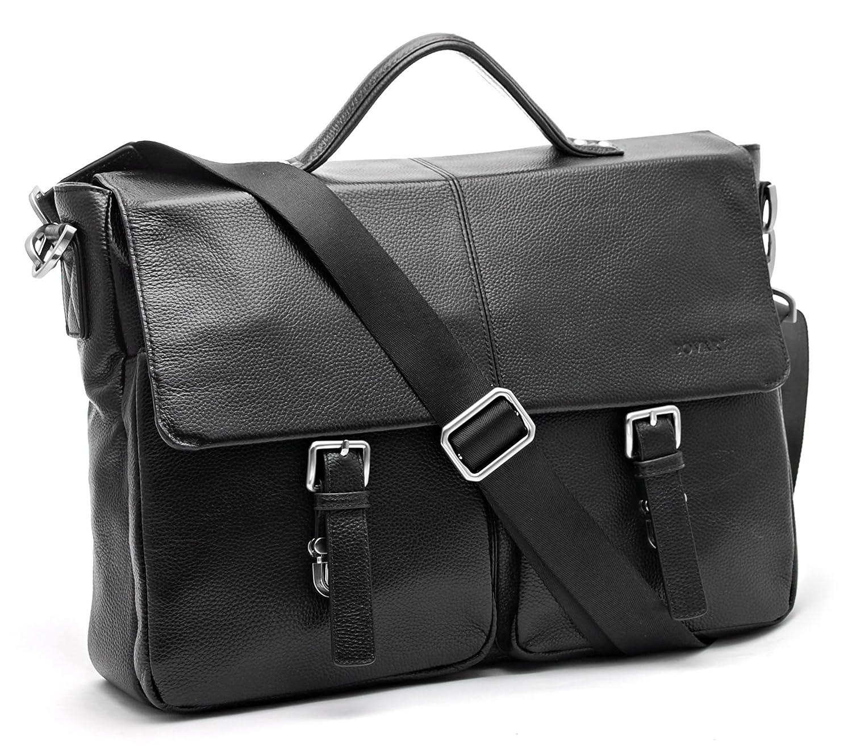 Bovari echt Leder Herren Schultertasche Aktentasche Umhängetasche Laptop-Tasche Messenger Bag 39x30x10 cm Model Lyon - Größe L (braun matt)