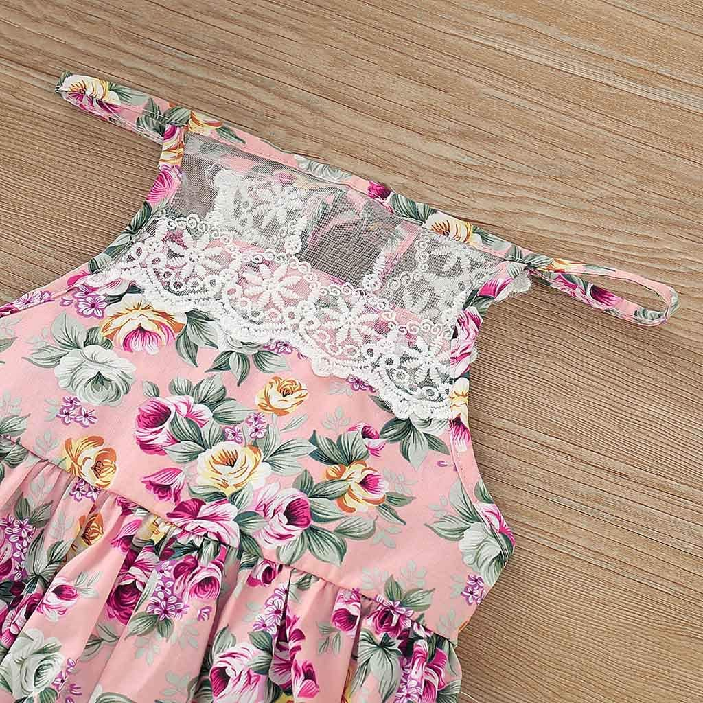 Infant Toddler Girls Summer Clothes Jumpsuits Onesies 3-24 Months Sleeveless Lace Strap Floral Rompers Overalls