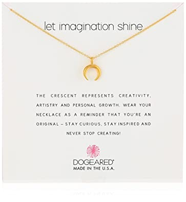 """233ce2f662004f Dogeared Reminders- """"Let Imagination Shine"""" Gold Dipped Sterling  Silver Crescent Charm Necklace"""
