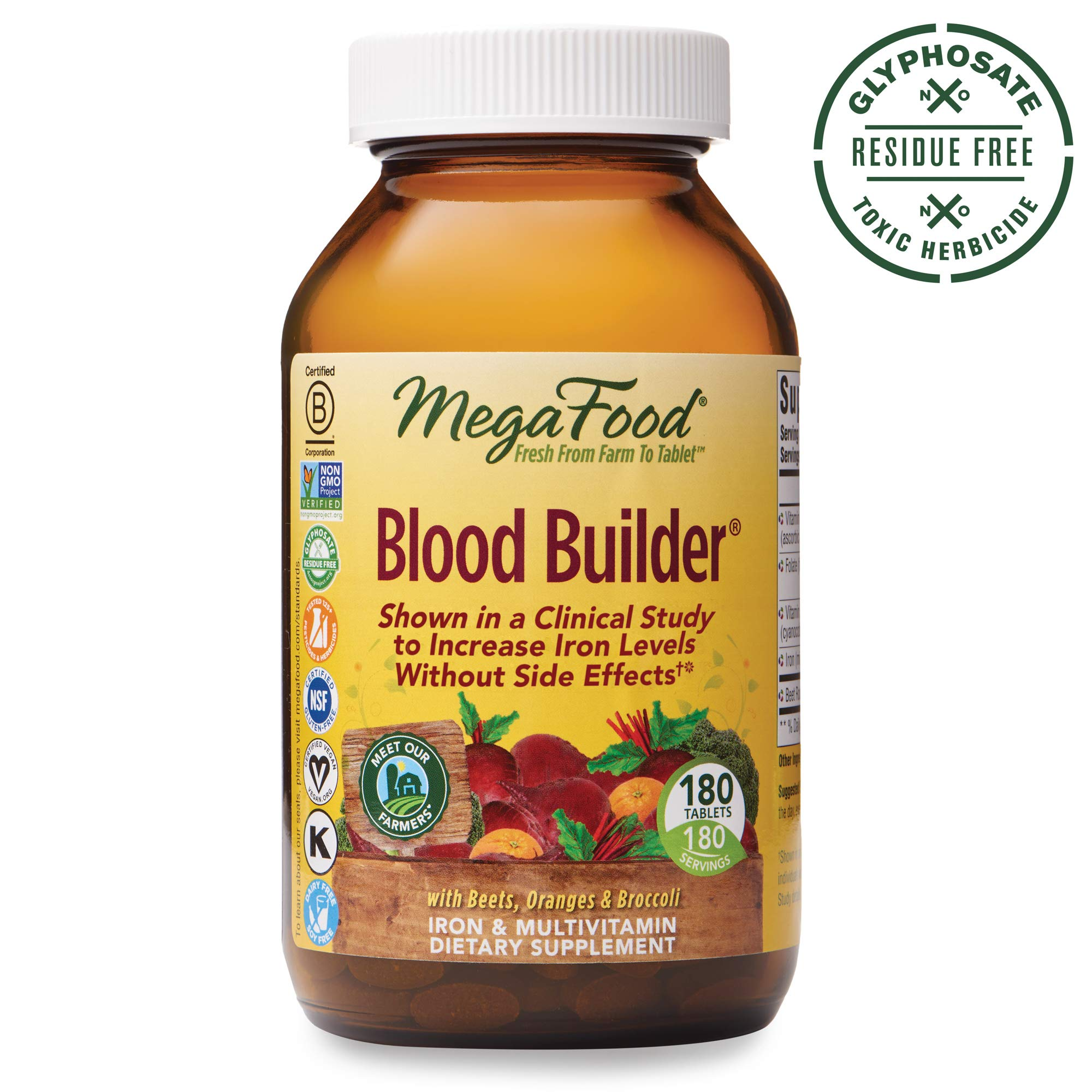 MegaFood, Blood Builder, Daily Iron Supplement and Multivitamin, Supports Energy and Red Blood Cell Production Without Nausea or Constipation, Gluten-Free, Vegan, 180 tablets (180 servings) by MegaFood
