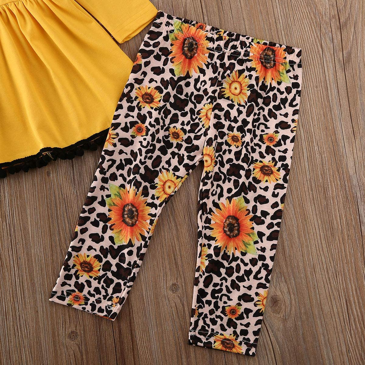 2Pcs Kids Toddler Baby Girl Long Sleeve T-Shirt Tops+Floral Pants Outfit Set Fall Clothes