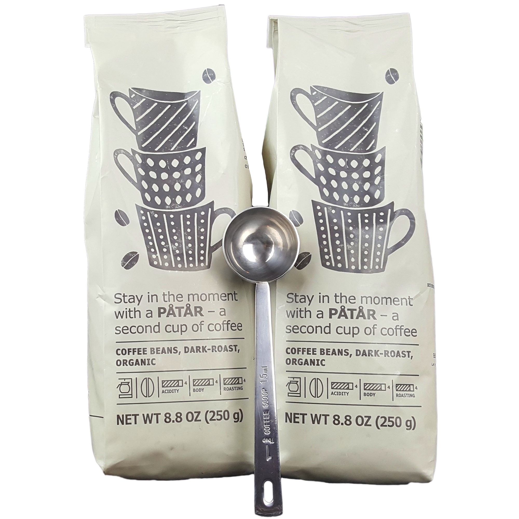IKEA Roasted Whole Coffee Beans Bundle - Dark Roast, Organic - 8.8 Oz Each (Pack of 2 - Total 17.6 oz) With Stainless Steel Measuring Coffee Spoon