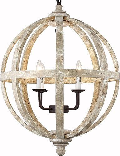 24.5 Inch Landon Collection Orb Global Birchwood 4-Light Farmhouse Transitional Chandelier Dining Room Entry Hallway