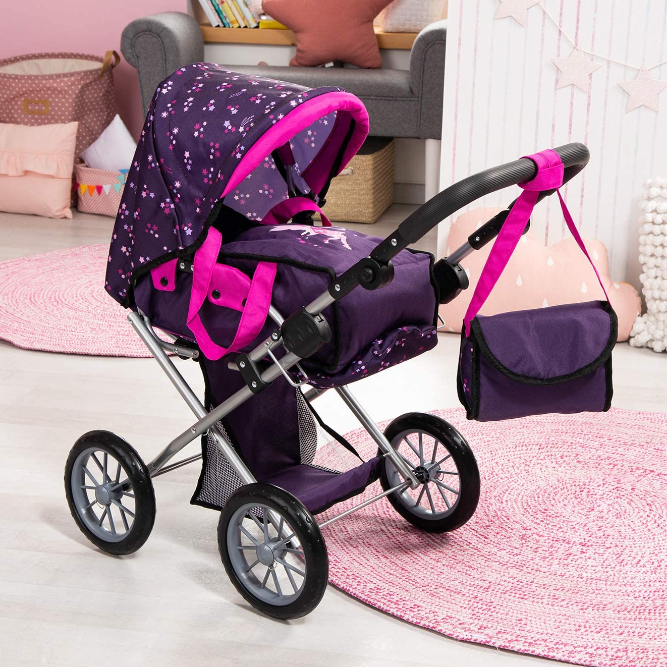 Pink Purple for Dolls up to 46cm with Adjustable Handle Bayer Design 13679AA City Star in Modern Design Combi pram with Removable carrycot and Shoulder Bag Fairy with Pattern