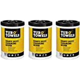 """Tub O Towels Heavy-Duty 10"""" x 12"""" Size Multi-Surface Cleaning Wipes, 90 Count Per Canister - 3 Pack"""