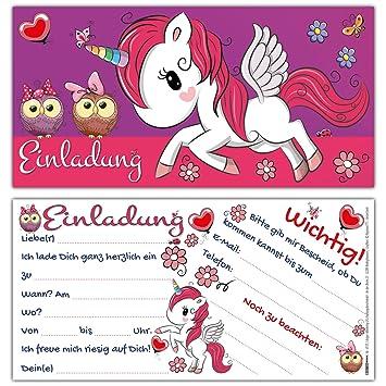 12 Einhorn Einladungskarten Im Karten Set Zum Kinder Geburtstag
