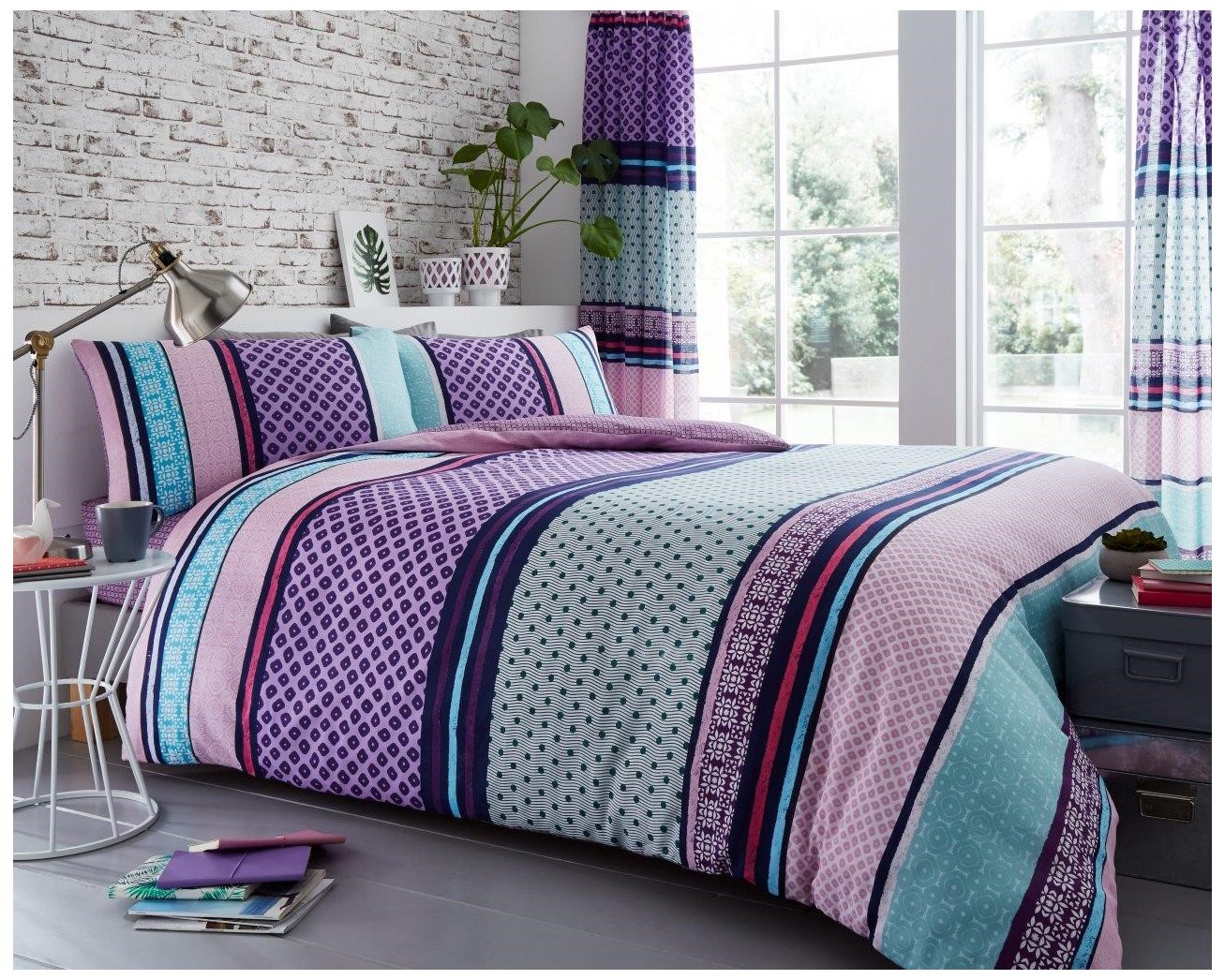 Gaveno Cavailia Luxury CHARTER STRIPE Bed Set with Duvet Cover and Pillow Case, Polyester-Cotton, Natural, Double 11149613