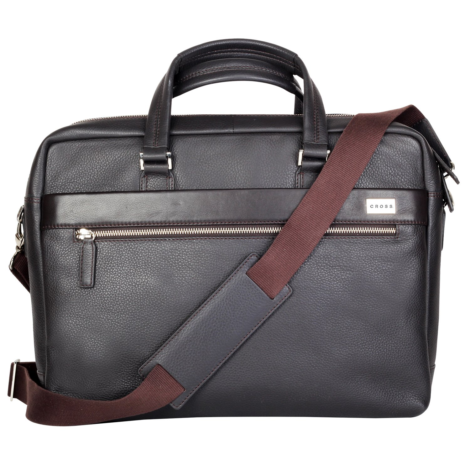 CROSS Men's Leather Weekender / Office / Laptop / Business Bag with 14 inches Laptop Compartment - FV - Coffee - AC021028-2