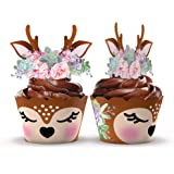 Woodland Baby Shower Cupcake Wrappers and Toppers - 24 Sets - Woodland Deer Birthday Party Decorations - Wild One Party Suppl