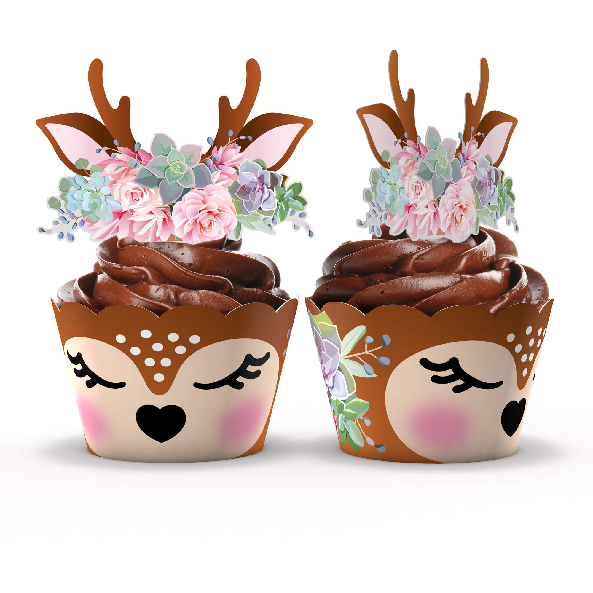 Woodland Baby Shower Cupcake Wrappers And Toppers 24 Sets Woodland Deer Birthday Party Decorations Wild One Party Supplies Woodland Deer