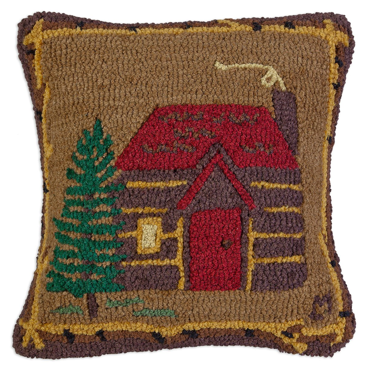 Cabin in the Woods - 18'' Hooked Pillow from Chandler 4 Corners by Chandler 4 Corners (Image #1)