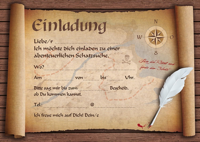 12 Einladungen Zur Schatzsuche Alte Schatzkarte 12