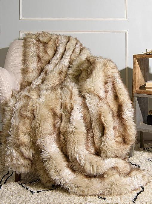Luxury Plush Faux Fur Throw Blanket Soft Warm Fluffy Couch 54/'/'x 36/'/' Home