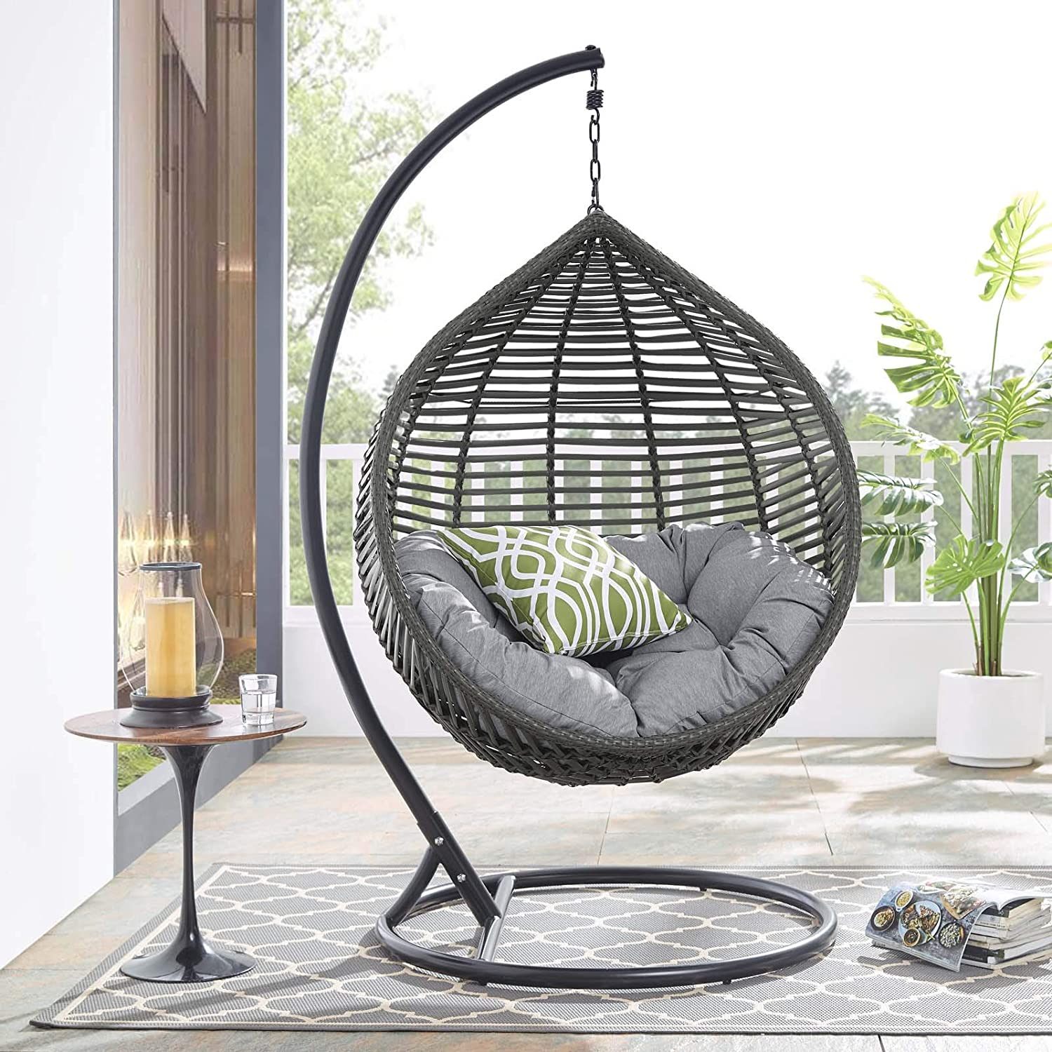 Modway Garner Outdoor Patio Wicker Rattan Teardrop Swing Chair In Gray Gray Garden Outdoor