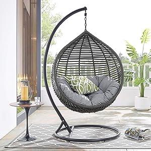 Modway Garner Outdoor Patio Wicker Rattan Teardrop Swing Chair in Gray Gray