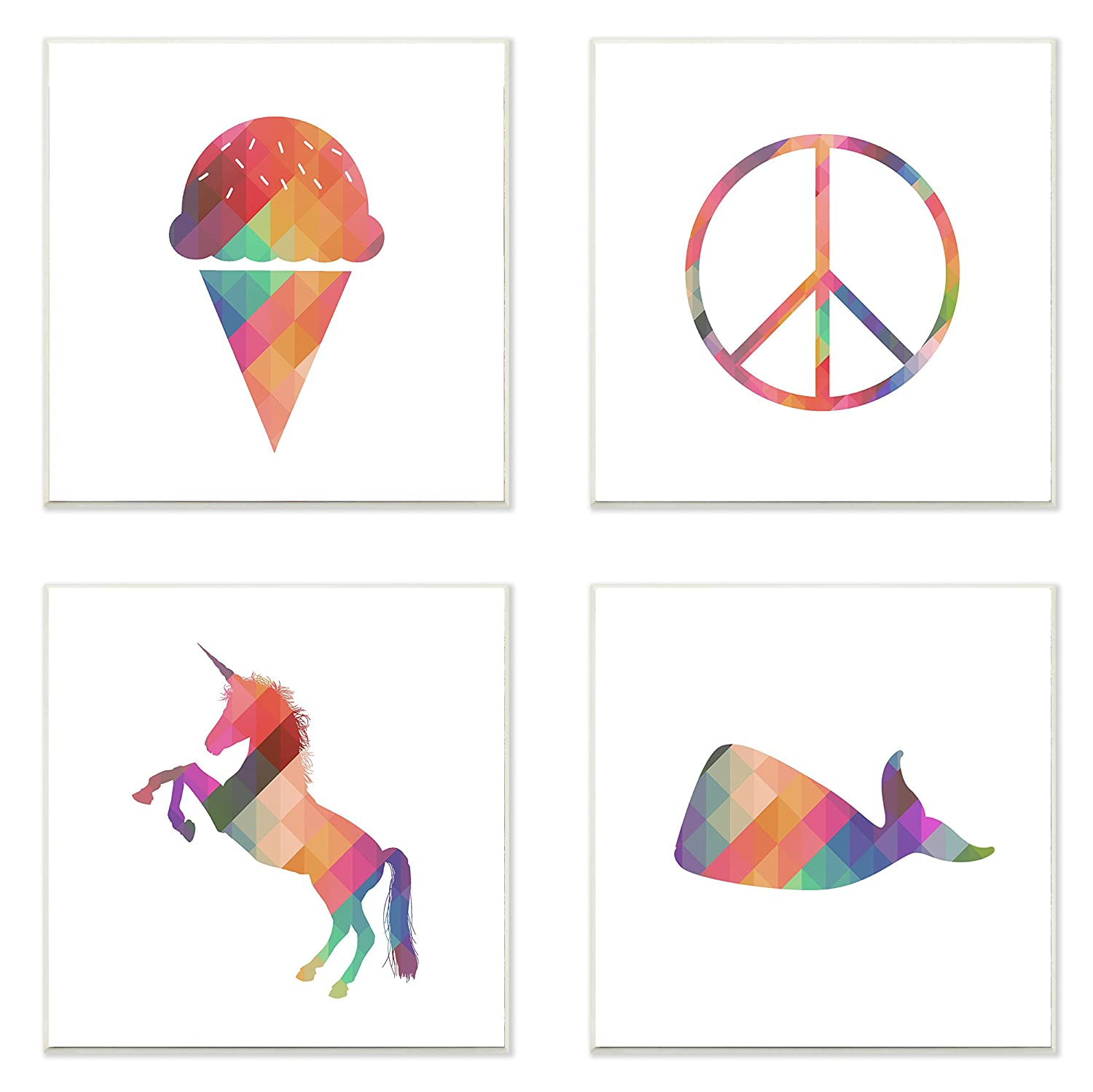 12 x 0.5 x 12 Stupell Home D/écor Geometric Rainbown Silhouettes Ice Cream Peace Unicorn Whale 3pc Wall Plaque Art Set Proudly Made in USA Stupell Industries brp-1835/_wd/_4pc/_12x12