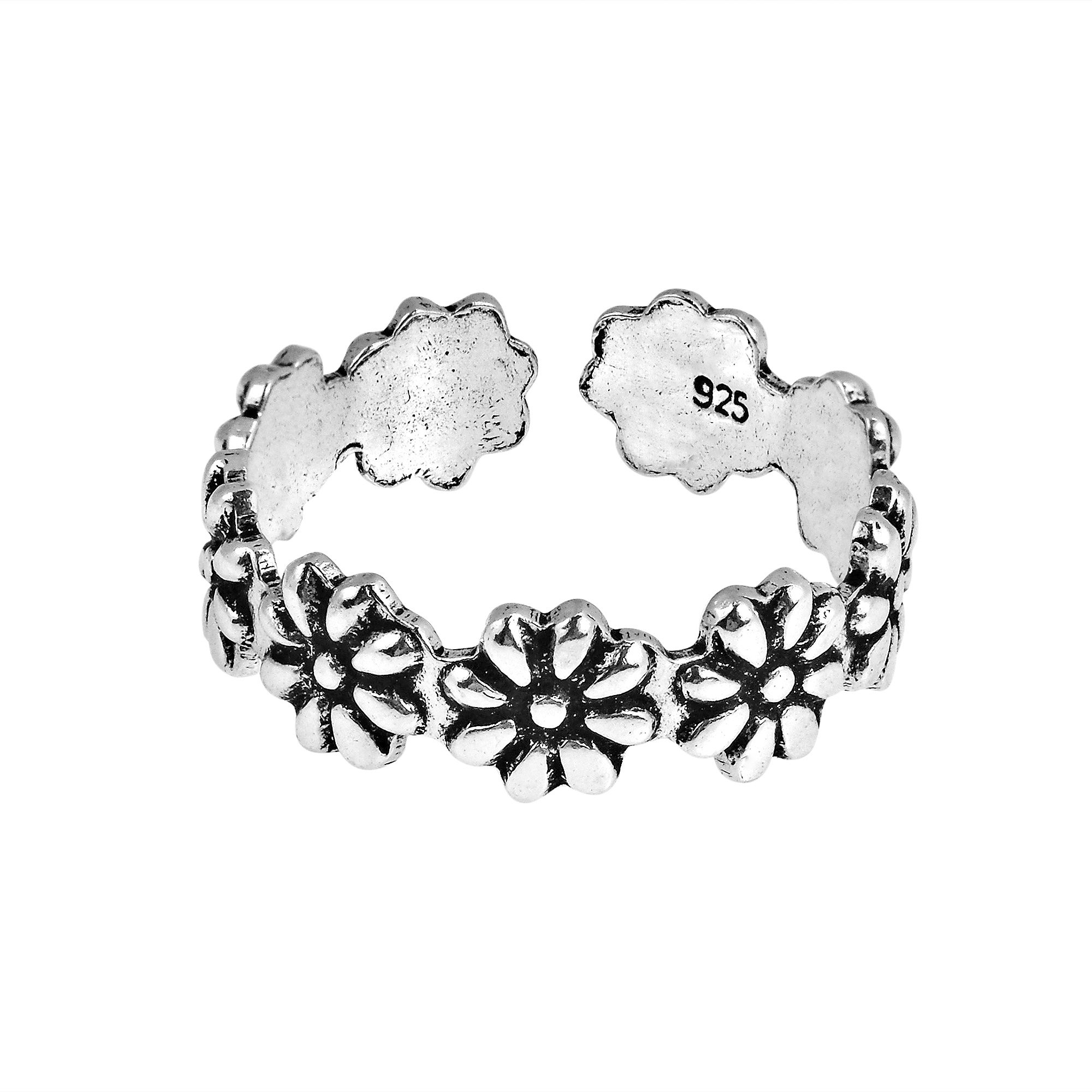 AeraVida Stylish Flowers Wrap .925 Sterling Silver Toe Ring or Pinky Ring