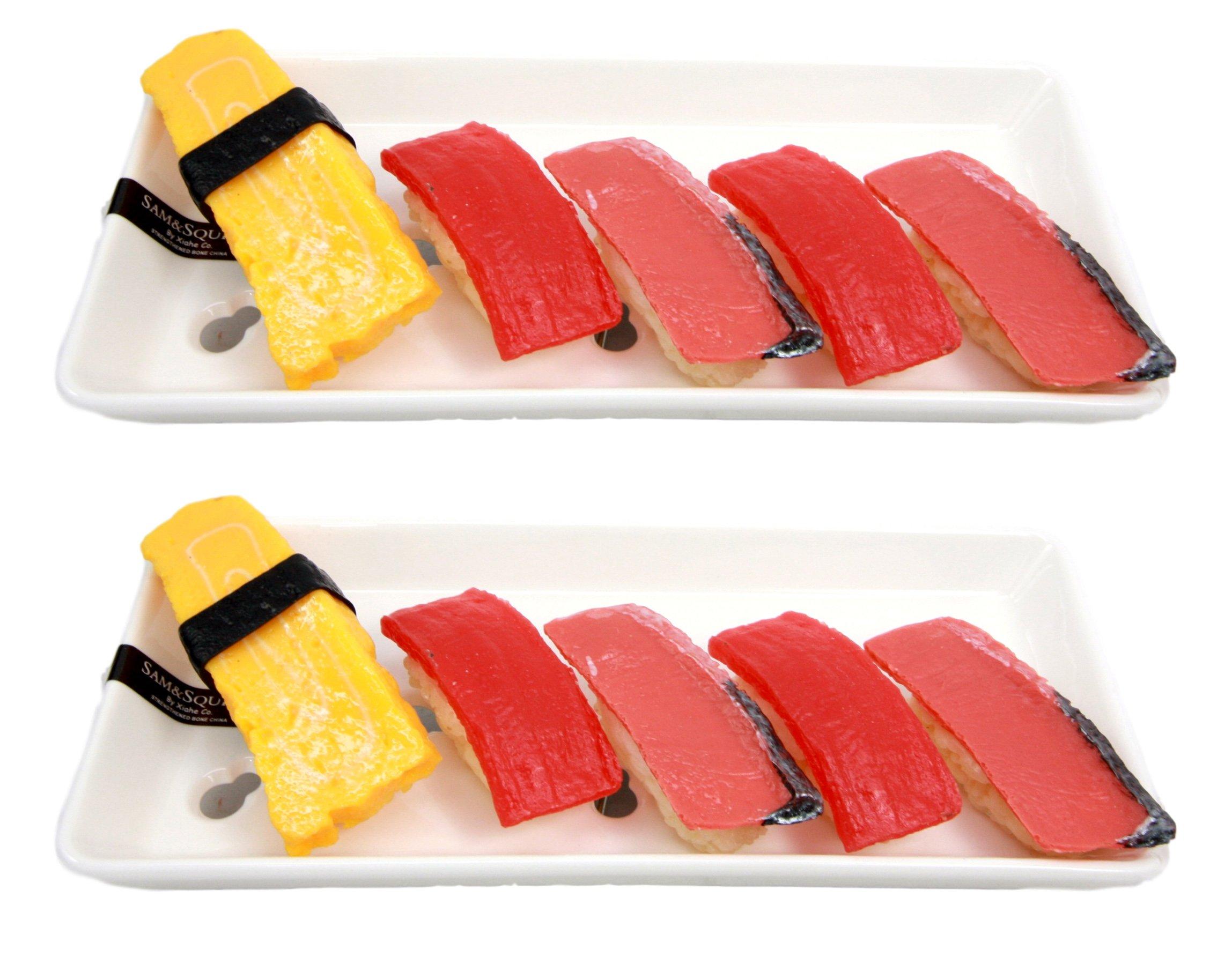 Atlantic Collectibles Set of 2 Japanese White Neta Zara Porcelain Sushi Sashimi Chef Serving Plate With Holes 8''L x 3.75''W