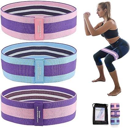 Fitnessband Widerstandsbänder, 3er Set Rutschfest Resistance Loop Band Stoff