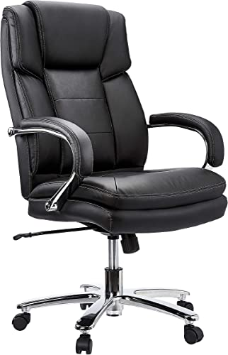 JC Home Leather Executive Swivel Chair with Loop Arms, Black