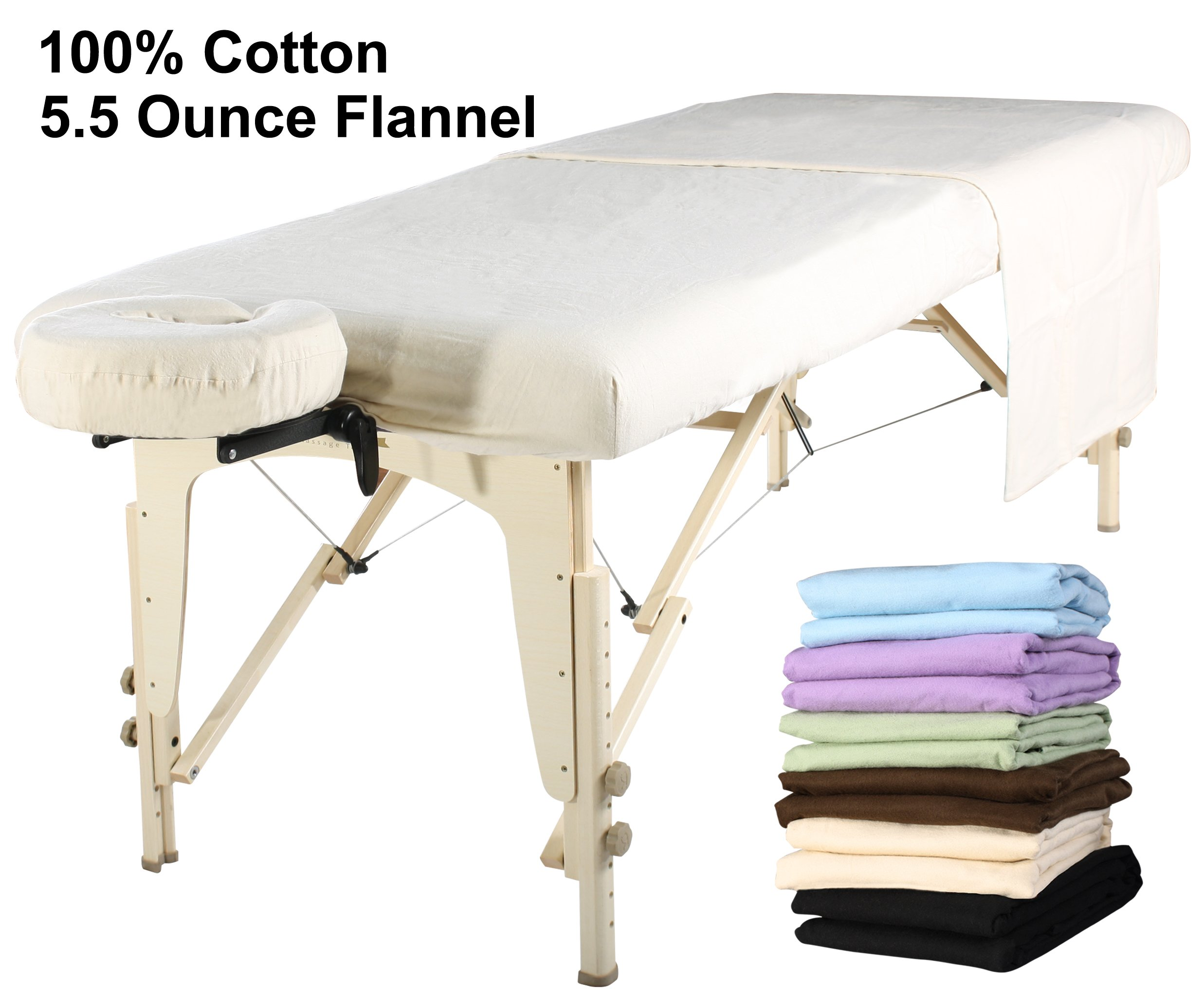 Master Massage Universal Massage Table Flannel Sheet Set 3 in 1 Table Cover, Face Cushion Cover, Table Sheet, Pure White by Mt Massage Tables