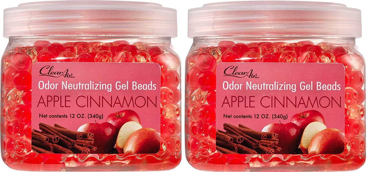 Clear Air Odor Eliminator Gel Beads - Eliminates Odors in Bathrooms, Cars, Boats, RVs & Pet Areas - Air Freshener Made with Essential Oils - Apple Cinnamon Scent - 2 Pack