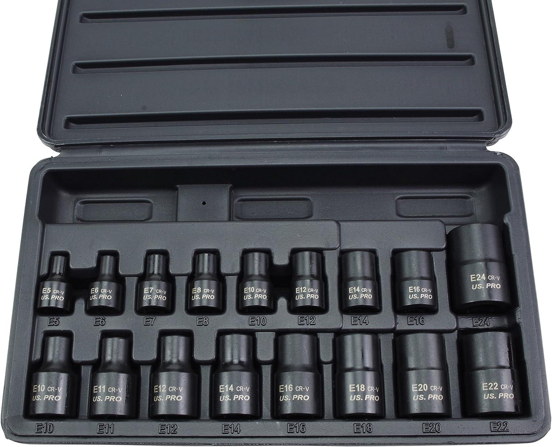 US PRO 1357 Tools 17pc E Torx Impact Socket Set E5//E24 Hembra Estrella Torque z/ócalos