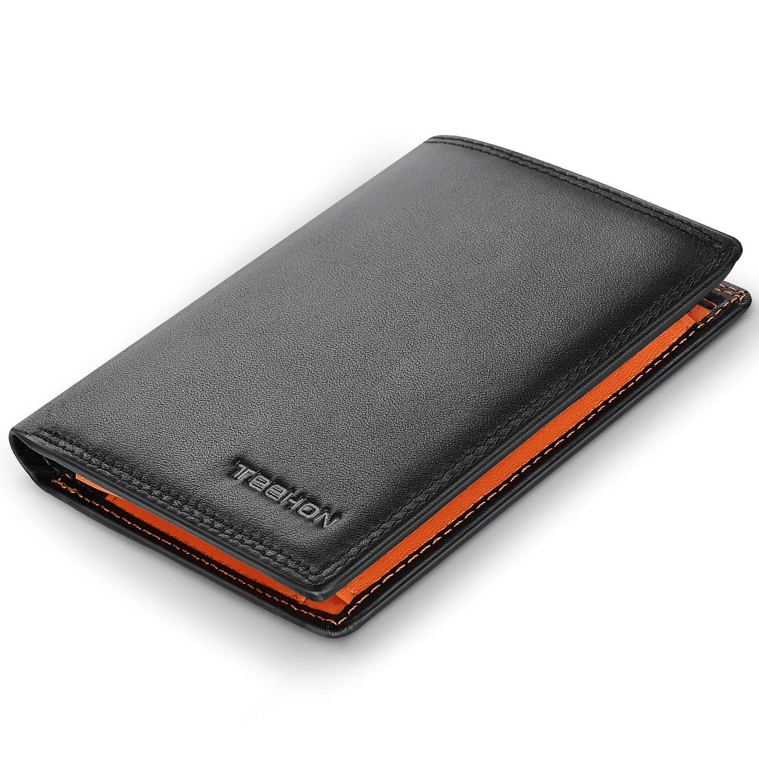 Wallets Mens RFID Blocking Genuine Leather with 12 Credit Card Holders, Coin Pocket, 2 Banknote Compartments, ID Window, Bifold Vertical Wallet for Men with Gift Box- Black and Orange