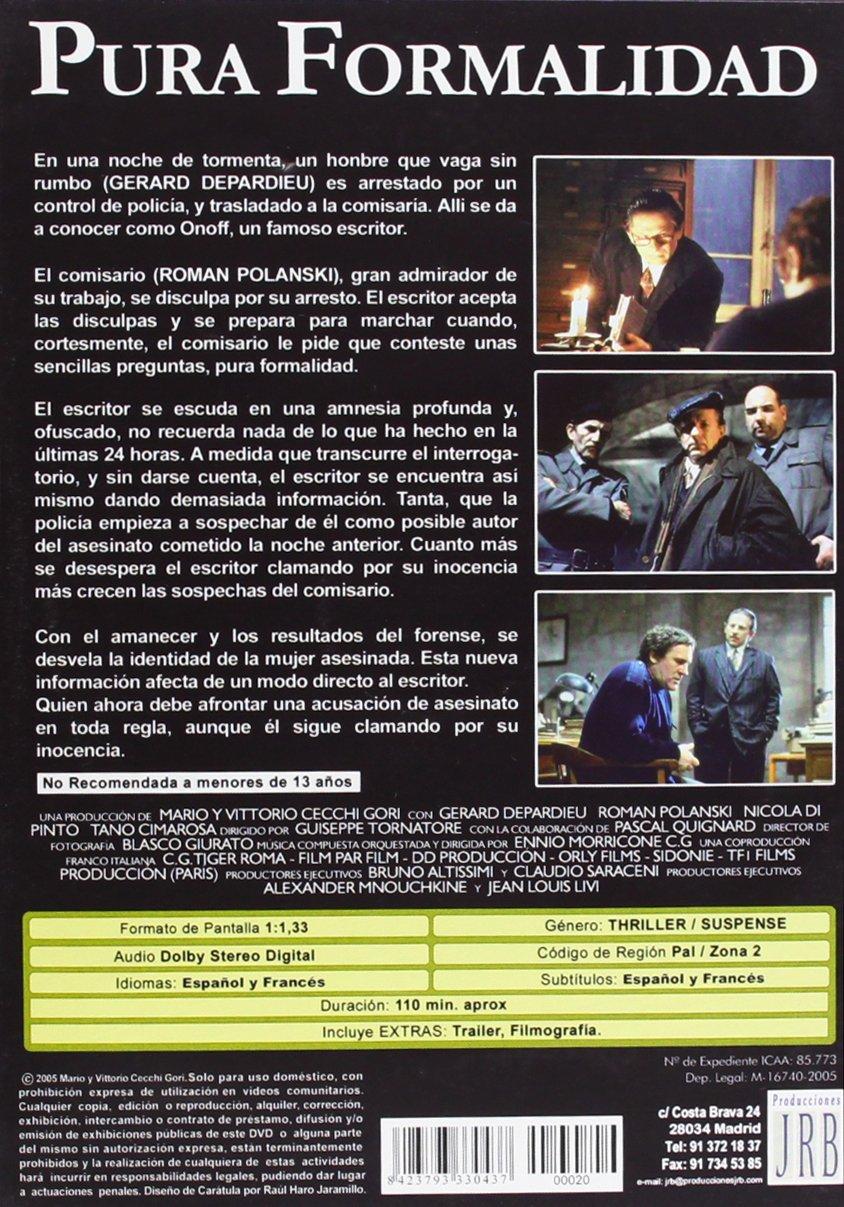 Amazon.com: Pura Formalidad (Une Pure Formalitèe) (1994) (Non Us Format) (Region 2) (Import): Gerard Depardieu, Nicola Di Pinto, Tano Cimarosa Roman ...
