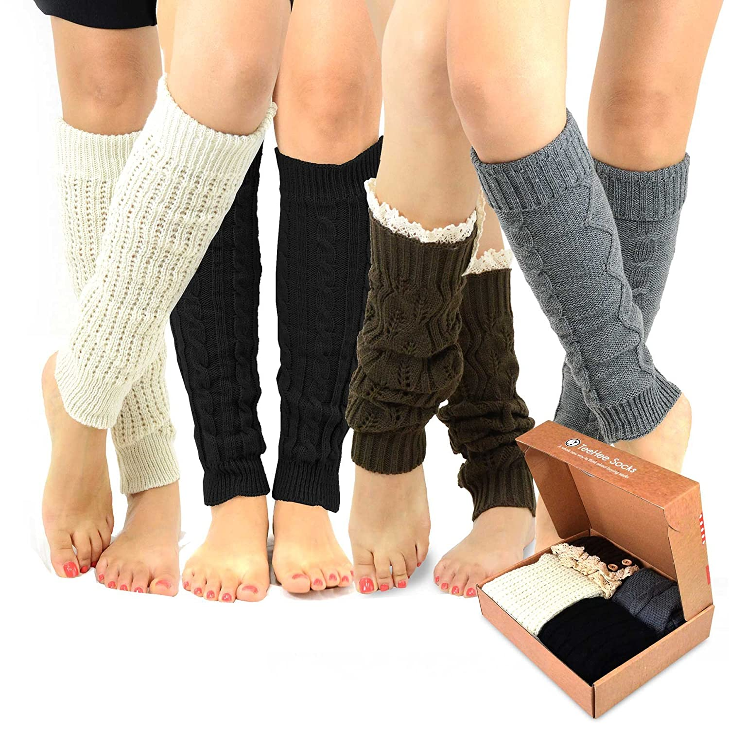 TeeHee Gift Box Women's Fashion Leg Warmers 4-Pack Assorted Colors Soxnet Inc