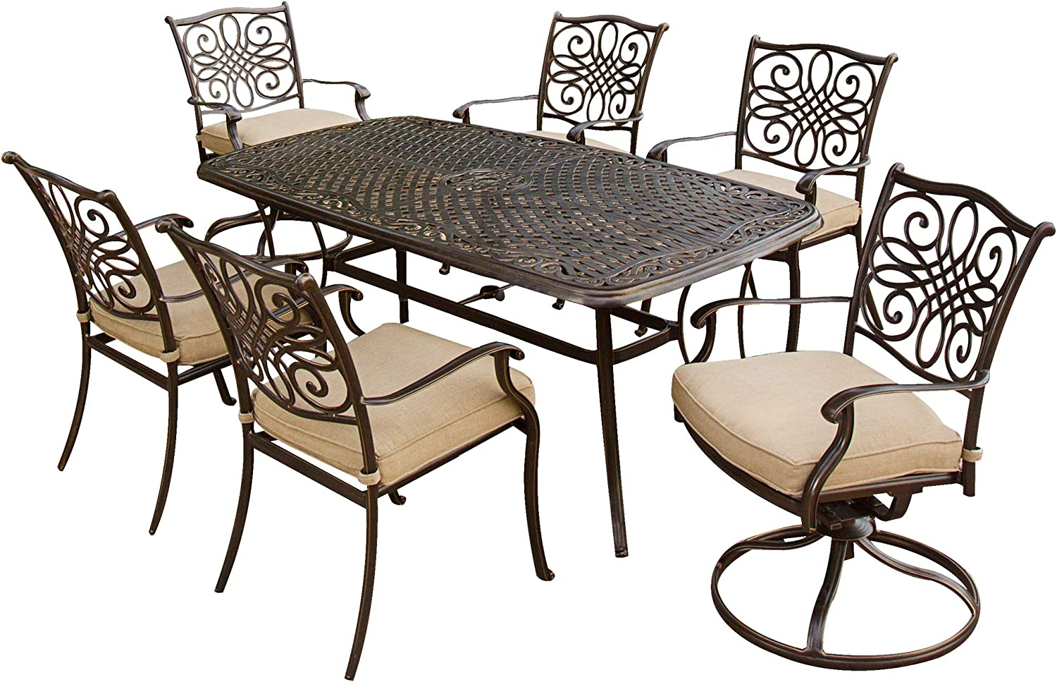Hanover TRADITIONS7PCSW 7-Piece Cast Aluminum Outdoor Patio Dining Set