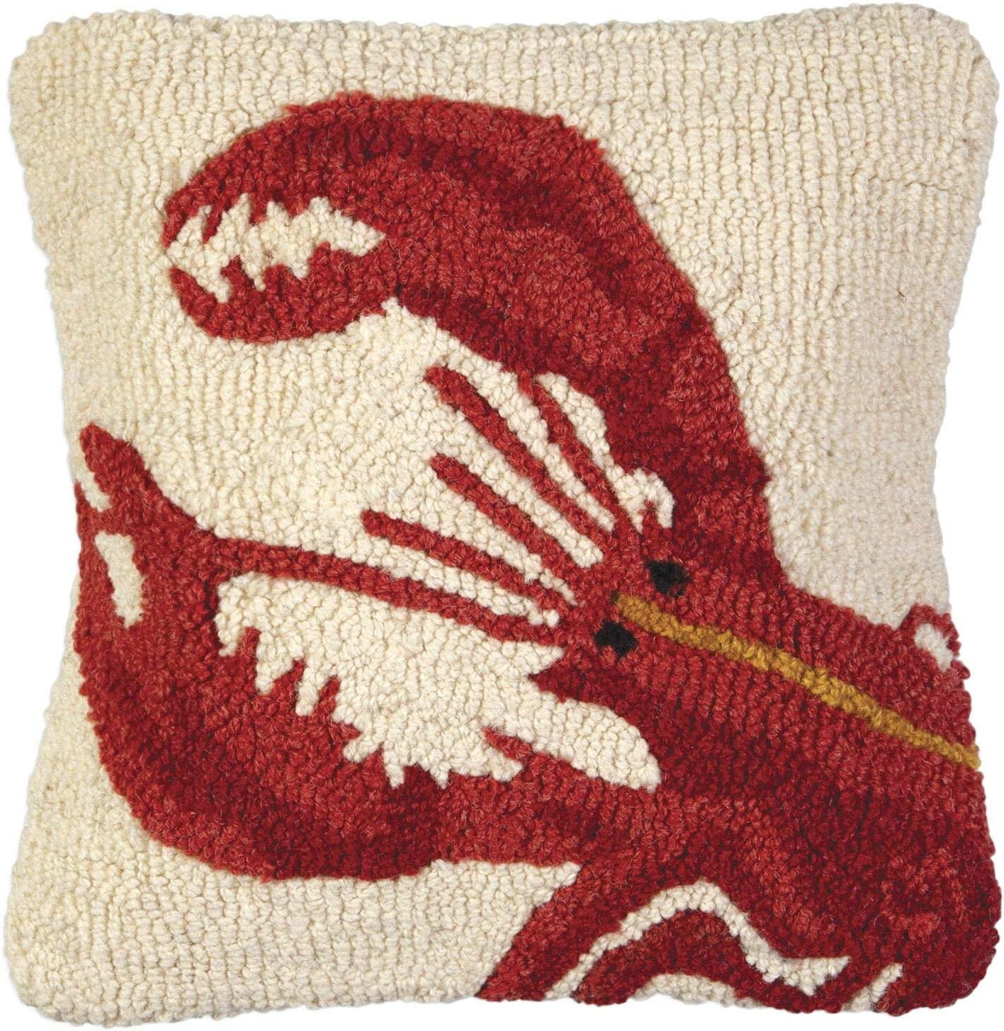 Chandler 4 Corners Artist Designed Red Lobster Hand Hooked Wool Decorative Throw Pillow 14 X 14 Home Kitchen