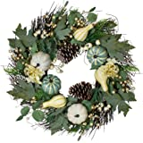 Northlight Green and White Pumpkins and Berries Fall Harvest Artificial Wreath - 22-Inch, Unlit