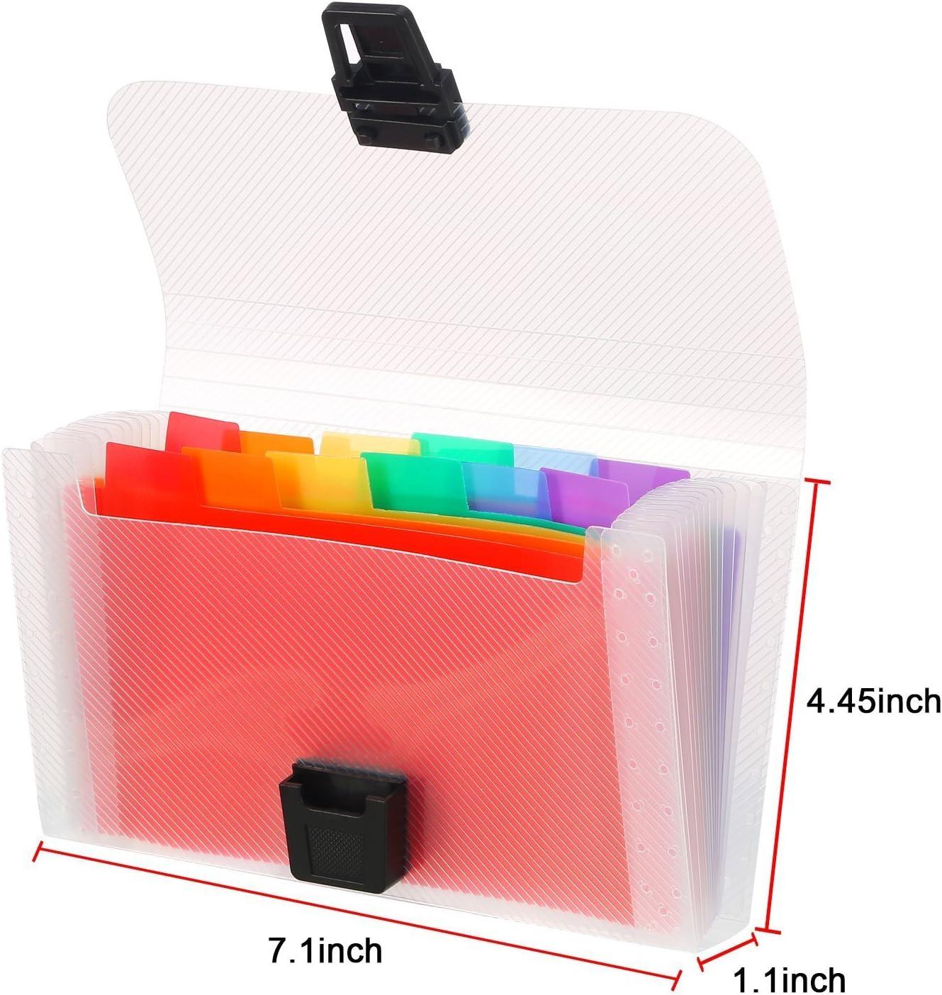 A6 Mini Expanding File Folder 13 Pockets Portable Rainbow Document Accordion File Folder Receipt Organiser Wallet Case Multicoloured Plastic Expandable File Pockets with Colored Labels Index