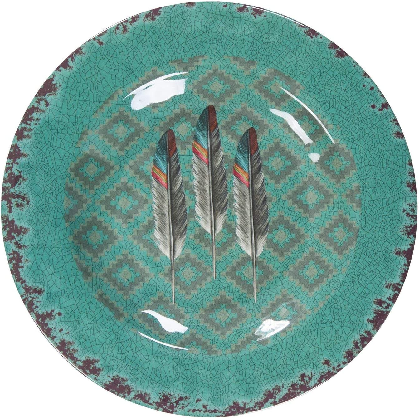 Amazon Com Hiend Accents Feather Southwestern 14 Pc Melamine Dinnerware Set Terra Cotta Turquoise Beige Dinnerware Sets
