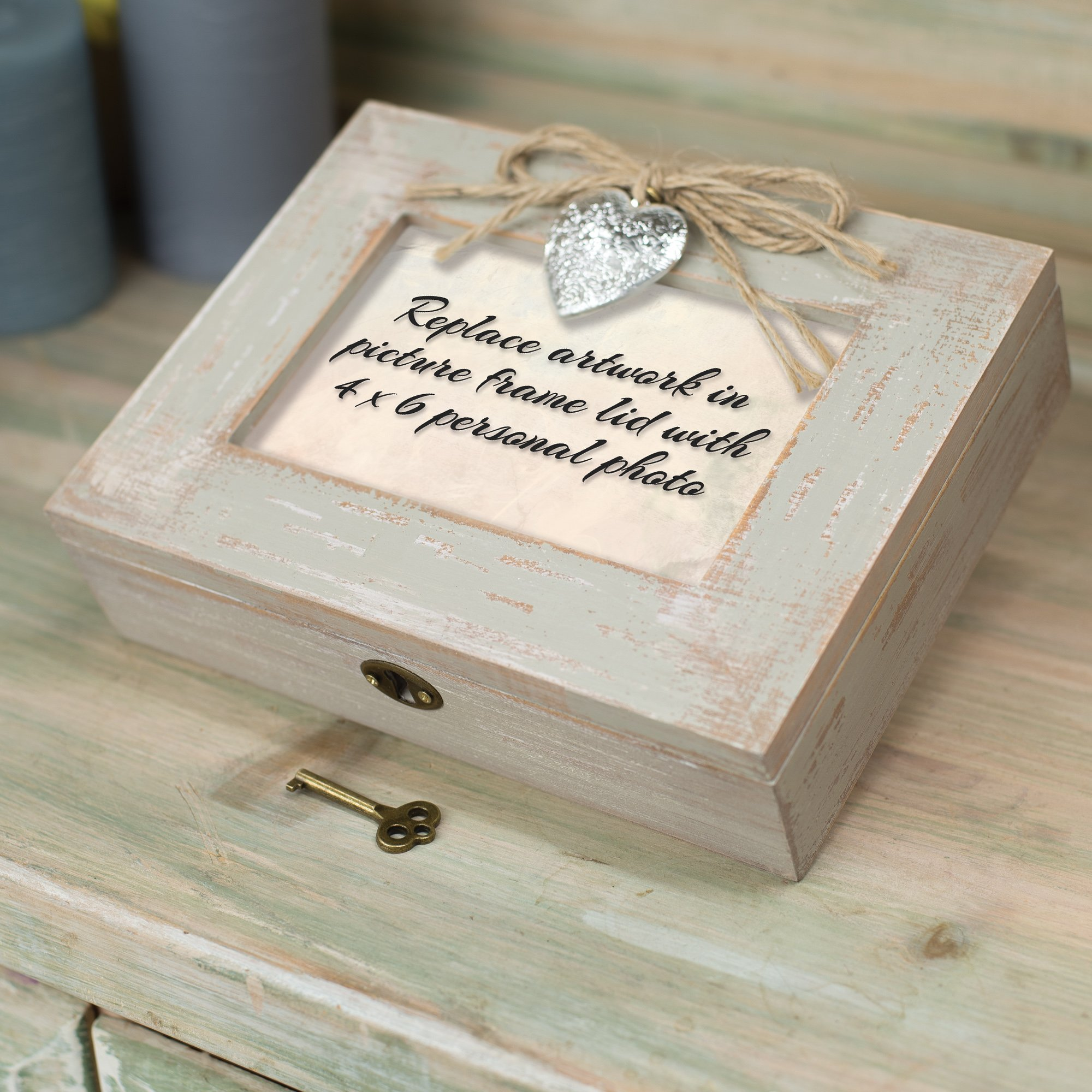 Cottage Garden You Make My Heart Smile Distressed Wood Locket Jewelry Music Box Plays Tune You Light Up My Life by Cottage Garden (Image #6)