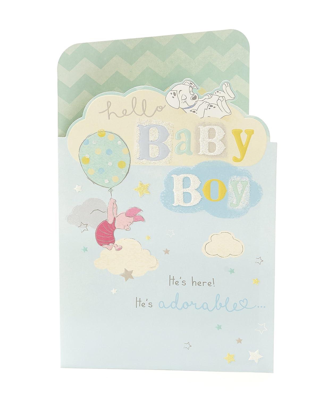 Carlton 796641-0-1 - Tarjeta de felicitación para recién nacido, diseño de Winnie the Pooh y Dalmatians
