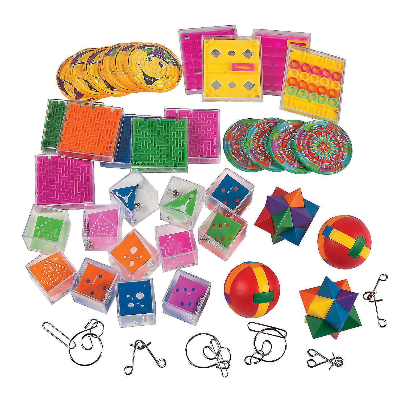 Fun Express - Mind Teaser Game Assortment (50pc) - Toys - Games - Puzzle Games & Mind Teasers - 50 Pieces by Fun Express