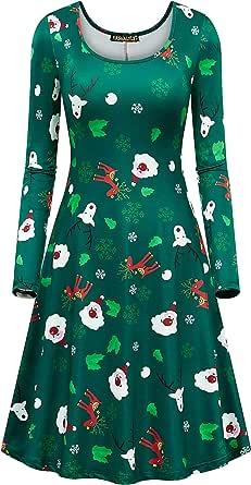 NASHALYLY Christmas Dresses,Womens Print Flared Ugly Xmas Santa Claus Long Sleeve A-Line Midi Dress
