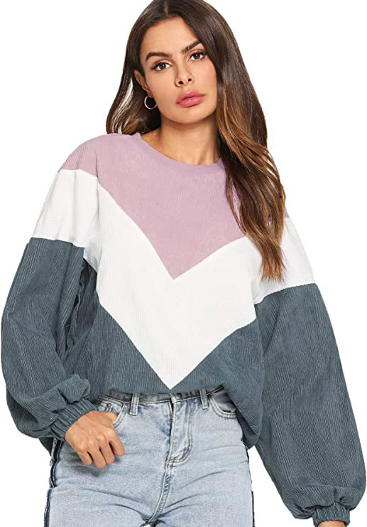80s Sweatshirts and Sweaters ROMWE Womens Loose Colorblock Sweatshirt Lantern Sleeve Round Neck Pullover Tops $19.99 AT vintagedancer.com