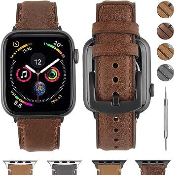 Fullmosa Correa Compatible con Apple Watch 38 mm 40 mm 42 mm 44 mm, YOLA Serie Pulsera de Piel Bruñida para iWatch SE Series 6/5/4/3/2/1, Marrón Oscuro + Herraje Gris 40mm: Amazon.es: Electrónica