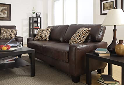 Serta RTA Palisades Collection 78u0026quot; Bonded Leather Sofa In Chestnut  Brown