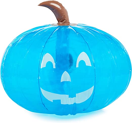 """Amazon.com: Teal Pumpkin 15"""" Inflatable for Halloween Party Decorations - Blow Up Indoor / Outdoor Jack O Lantern Decor - Official Teal Pumpkin Project Gear: Toys & Games"""