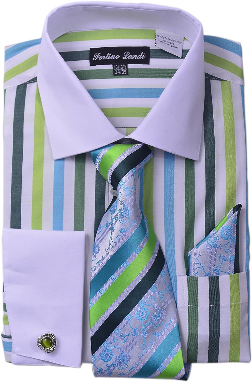 Men/'s Unique Stripe shirt With Tie /& Hanky Matching Color Cat Eyes Cufflinks 629