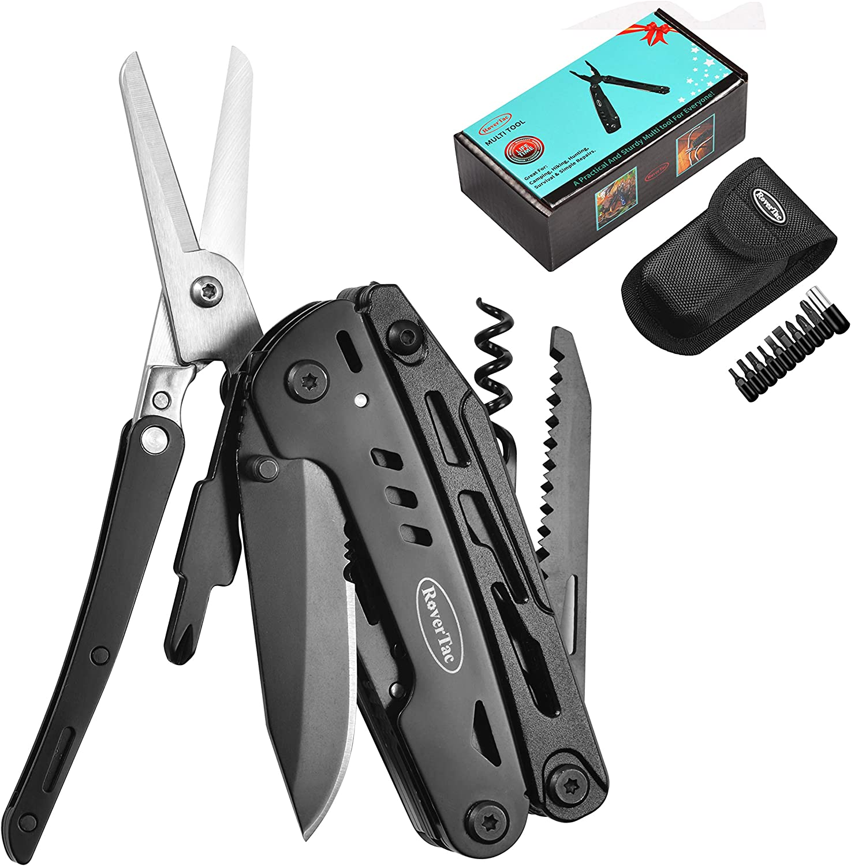 Multi Tool Pliers Saw Scissors Kit Folding Multitool Camping Screwdriver Bit Set