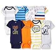 Onesies Brand Baby Boys' 8-Pack Short-Sleeve Bodysuit, Dog, 0-3 Months