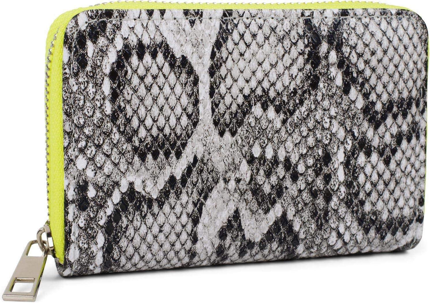 styleBREAKER minimonedero de Mujer con Motivo de Serpiente, Cremallera, Cartera 02040127, Color:Gris-Amarillo